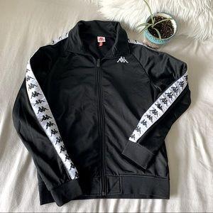 Kappa Black & White Zip-Up Long Sleeved Top